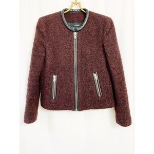 The Kooples maroon mohair & alpaca jacket